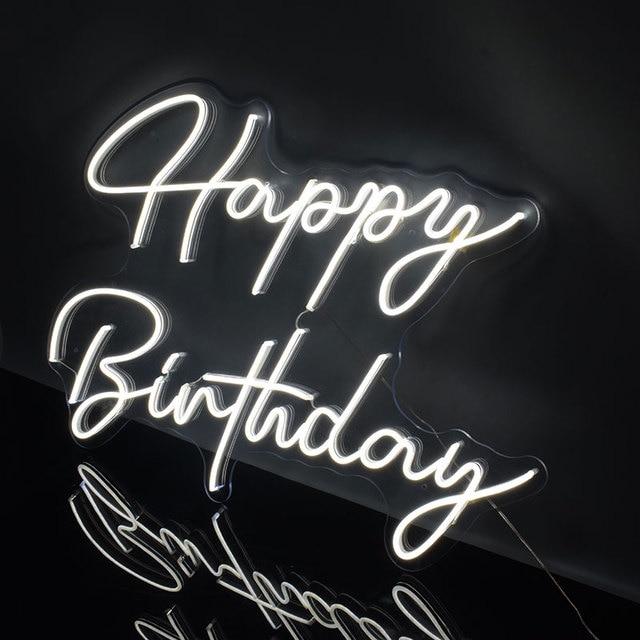 Custom Logo Happy Birthday 3D Led Flex Transparent Acrylic Plexiglass Neon Sign Light Letter Board Party Background Decor