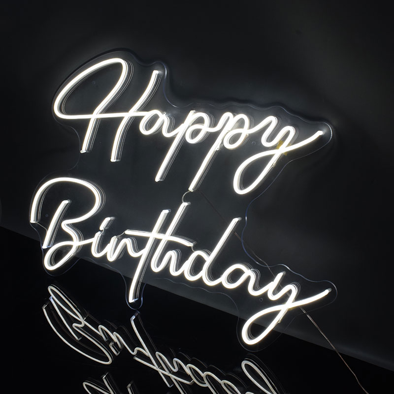 Custom Logo Happy Birthday 3D Led Flex Transparent Acrylic Plexiglass Neon Sign Light Letter Board Party Background Decor image