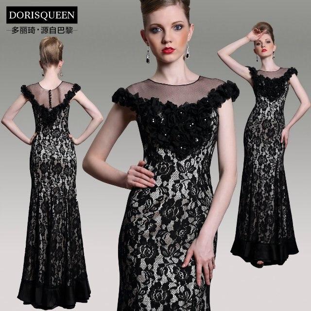 Fashion 2018 Vestido De Festa Floor Length Flowers Casual Formal Black Long Lace Evening Elegant Mother Of The Bride Dresses