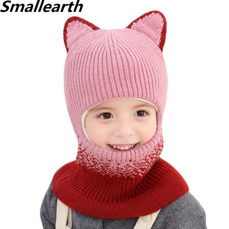 New Knitted Children Hats Thick Hooded Hat Scarf Warm Girl Boy Earmuffs Head Cap Winter Baby Windproof Hat Toddlers Beanies Set