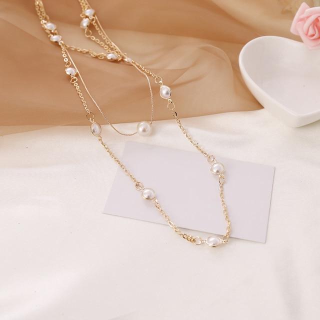 Pearl layered necklace or pearl hoop earrings 3