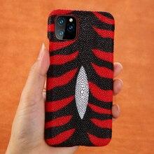 Lederen Parel Gourami Fhx 39k Luxe Telefoon Case Voor Iphone 6S 7 8 Plus Xr X Xs Max 11 11Pro Max Back Cover Cases