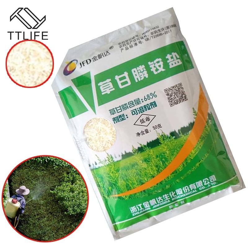TTLIFE-élimine les mauvaises herbes et feuilles larges, Spray tueur de mauvaises herbes, à l'ammoniac Glyphosate, Glycine, Herbicide, graines et feuilles larges, 50g