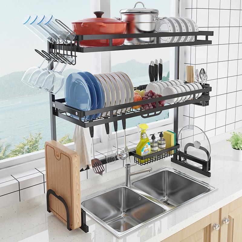 65cm 85cm en acier inoxydable cuisine égouttoir en forme de U évier égouttoir un deux couches cuisine organisateur étagère support de rangement noir