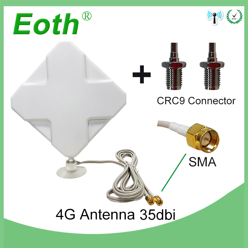 Eoth 3G 4G LTE Antenna SMA Male 2m Cable 35dBi 2*SMA Connector For 4G Modem Router +Adapter SMA Female To CRC9 Male Connector