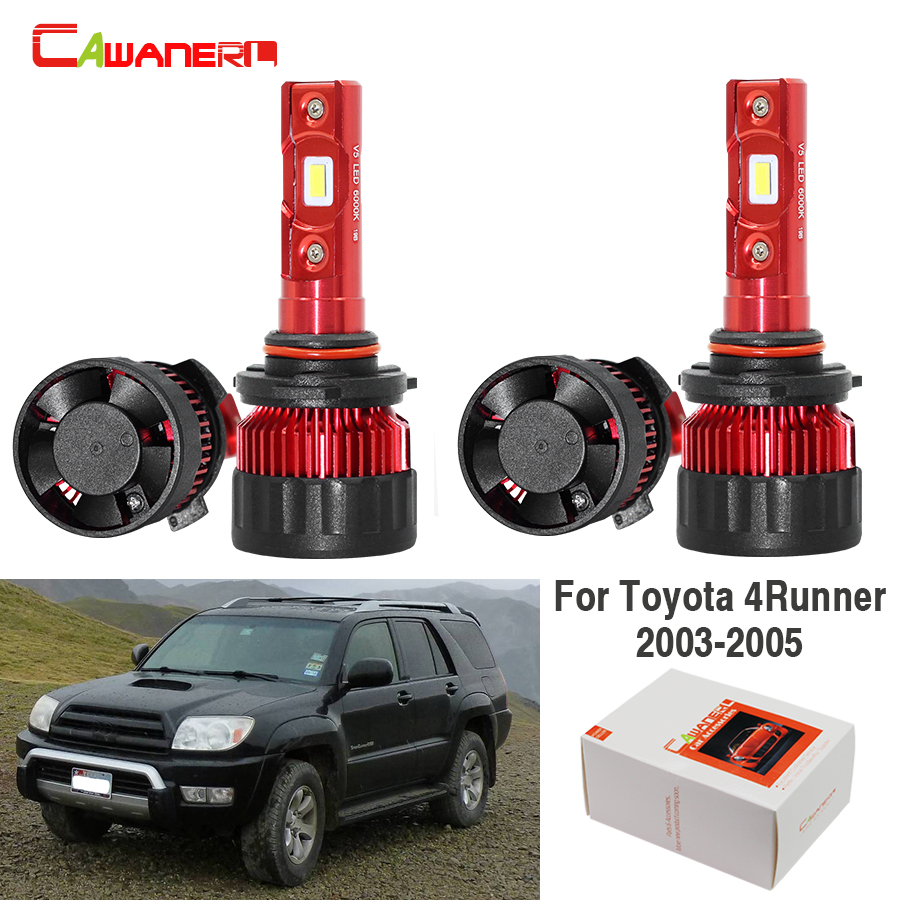Cawanerl 4 Pieces Car LED Headlight Bulb High Beam Low Beam 9000LM White 6000K 12V For <font><b>Toyota</b></font> <font><b>4Runner</b></font> 2003 2004 <font><b>2005</b></font> image