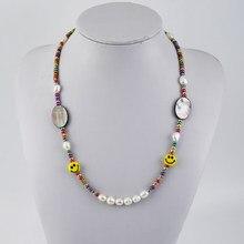Kbjw original smily real pérola colar de concha preta colar contas de natal ancestral mãe moluscos colar jóias