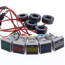 22 мм 0-100A цифровой амперметр измеритель тока/измерители напряжения индикатор светодиодная лампа квадратный сигнальный светильник