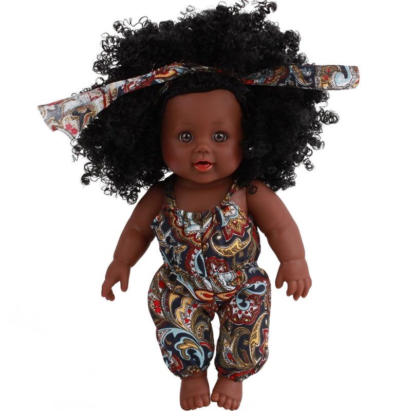 Cute Girl Dolls African American Play Dolls Lifelike 12 inch Baby Play Dolls