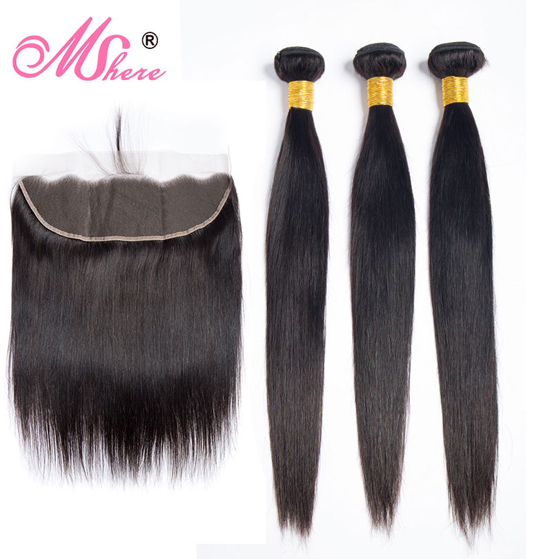 Peruvian Straight Hair 13x4 Lace Frontal With Bundles Human Hair 3 Bundles Mshere Hair Lace Frontal With Baby Hair Non Remy 4pcs