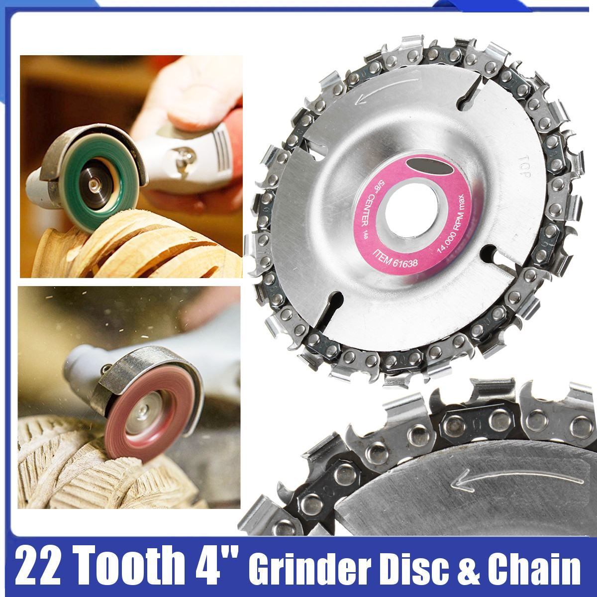 Drillpro Wood Carving Disc Woodworking Chain Grinder Chain Saws Disc Chain Plate Tool 22 Tooth