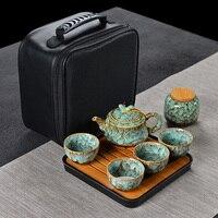 Chinesische Keramik Ofen Ändern Reise Tee-Set Im Japanischen stil einfache hause im freien tragbare Kung Fu teetasse ein topf von vier tassen