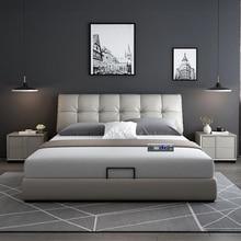 Современная Европейская кровать из массива дерева модная резная кожаная французская мебель для спальни hp003