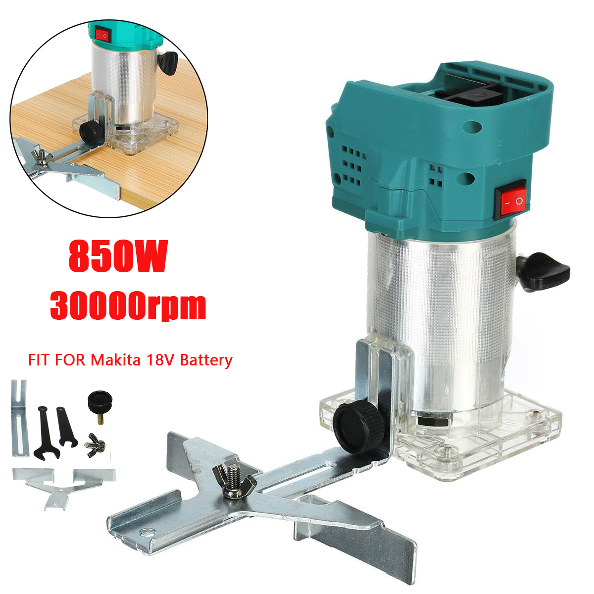 850W Electric Trimmer Wookworking Engraving Slotting Hand Trimming Carving Machine Wood Cutter Router Milling For Makita Battery