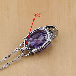 Image 5 - 925 Sterling Silver Bridal Jewelry Purple Zircon White CZ Jewelry Sets For Women Earrings/Pendant/Necklace/Rings/Bracelet