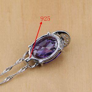 Image 5 - 925 Sterling Zilveren Bruids Sieraden Paarse Zirkoon Wit Cz Sieraden Sets Voor Vrouwen Oorbellen/Hanger/Ketting/Ringen/Armband