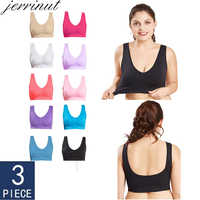 Jerrinut Dropshipping VIP 3PCS/lot Plus Size Bras For Women Seamless Bra Cotton Sports Sleep Active Bralette Women Padded Bra