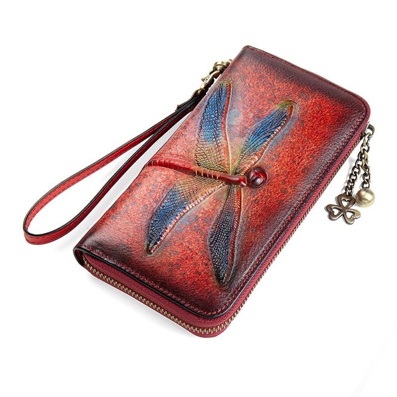 2020 nouveau rétro fait à la main gaufrage en cuir véritable luxe main portefeuille Vintage libellule femmes Long portefeuille