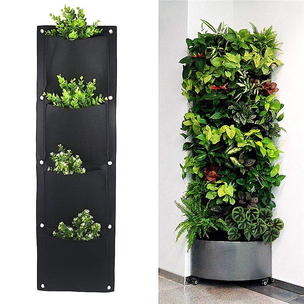 4/6/7 Pockets Wall Hanging Planting Bags Green Plant Grow Planter Vertical Garden Living Bag Garden Supplies Bags