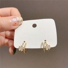 MENGJIQIAO New Elegant Micro Pave Zircon Flower Hoop Earrings For Women Double Circle Boucle D'oreille Oorbellen Sweet Jewelry