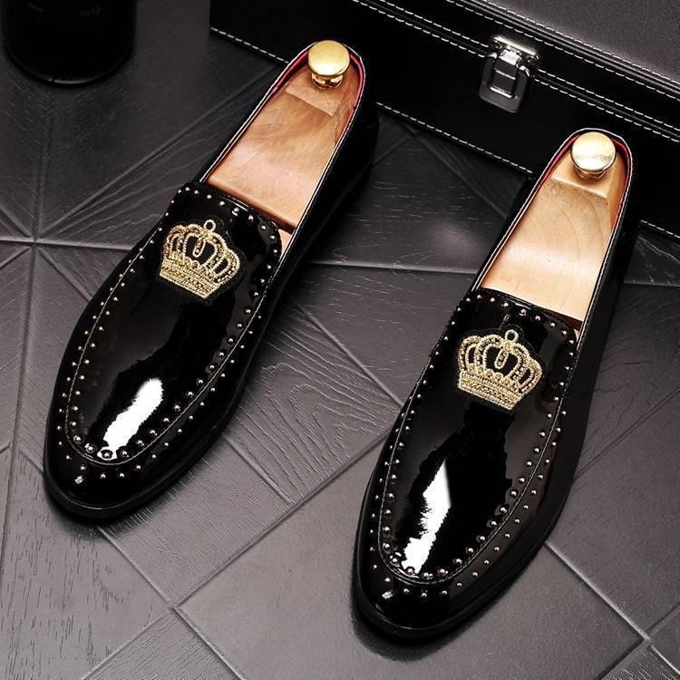 Nouveauté hommes charmant paillettes broderie couronne appartements robe gentleman chaussures mâle mariage retour soirée marié chaussures de bal