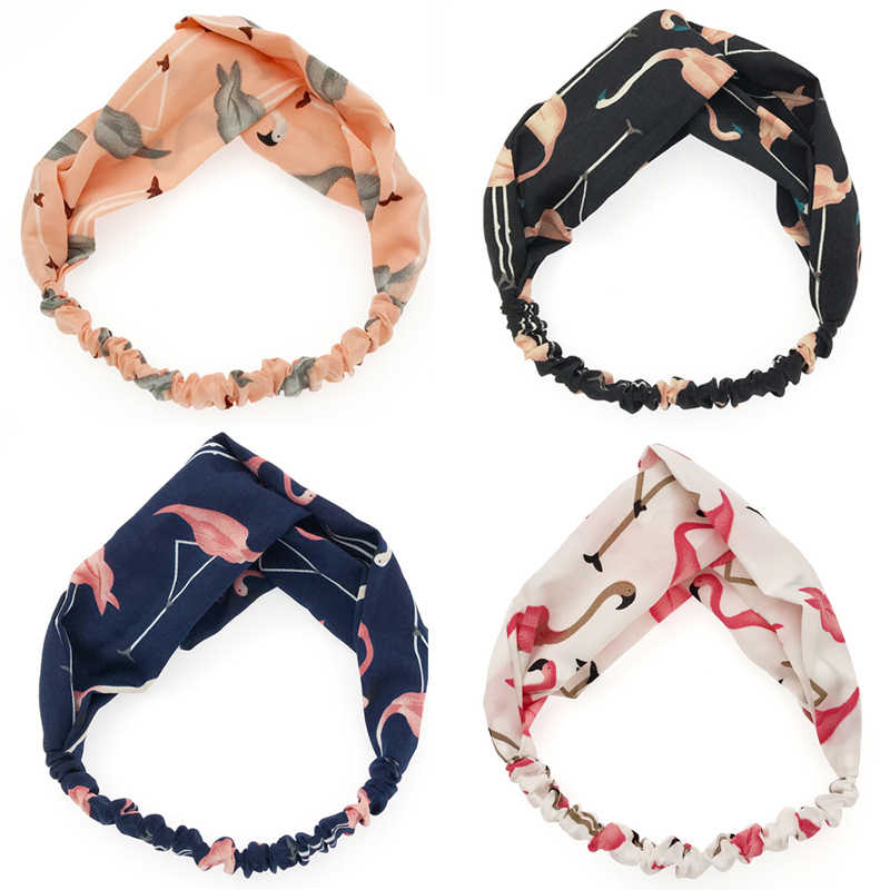 Women Girls Bohemian Hair Bands Print Headbands Retro Cross Knot Turban Bandage Bandanas HeadBands Hair Accessories Headwear