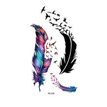 Arm Back Temporary Stickers Blue Feather Rose Flower Female Men Couple Disposable Tattoo Stickers Fashion Body Art(China)