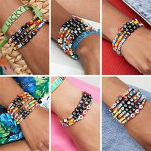 Shinus 6pcs  Bohemian Bracelet Colorful Bracelets Women Handmade Popular Friendship Love Jewelry femme Fashion Customized Letter