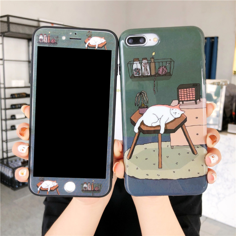 JAMULAR Cartoon 360 Full Body Protective Phone Case For iPhone XS MAX X 11 Pro XR 7 8 6 6s Plus illustration Cat Cover Soft Bag image