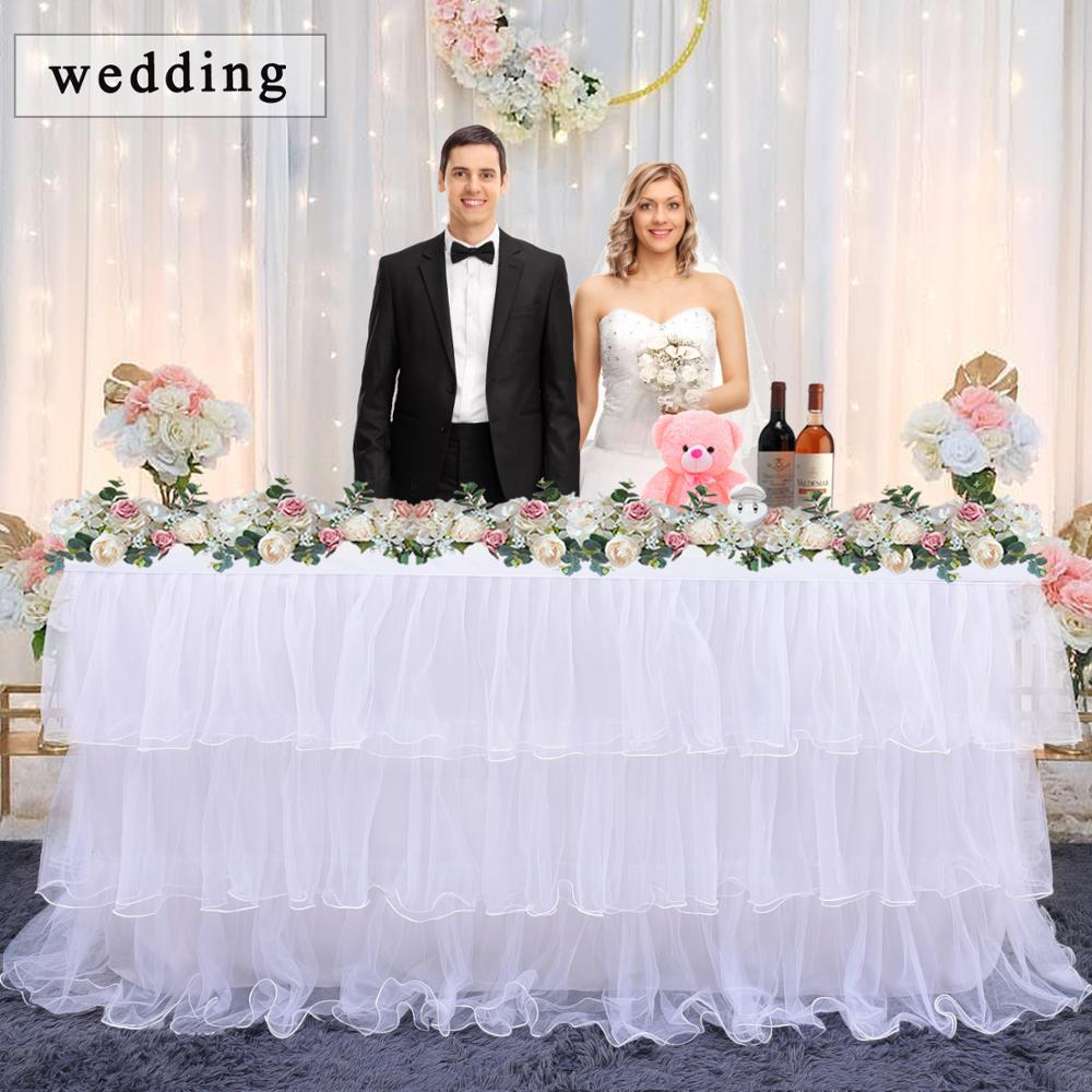 Wedding Tulle Tutu Table Skirt tablecloth Pink white  3 Tiers Dinner Tableware Decoration Birthday Baby Shower party decoration