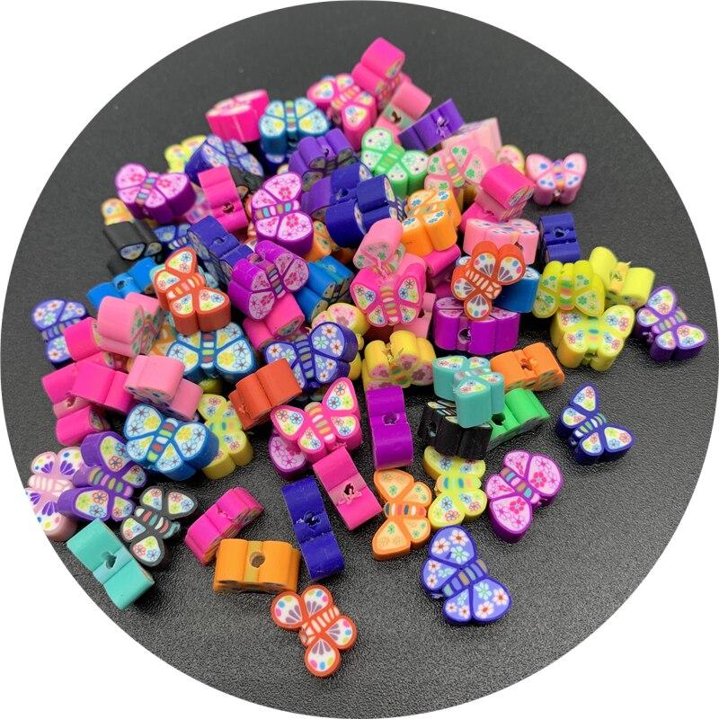 Разделительные бусины 30 шт./лот 10 мм, глиняные бусины, смешанные глиняные бусины в форме бабочки для изготовления ювелирных изделий ручной р...