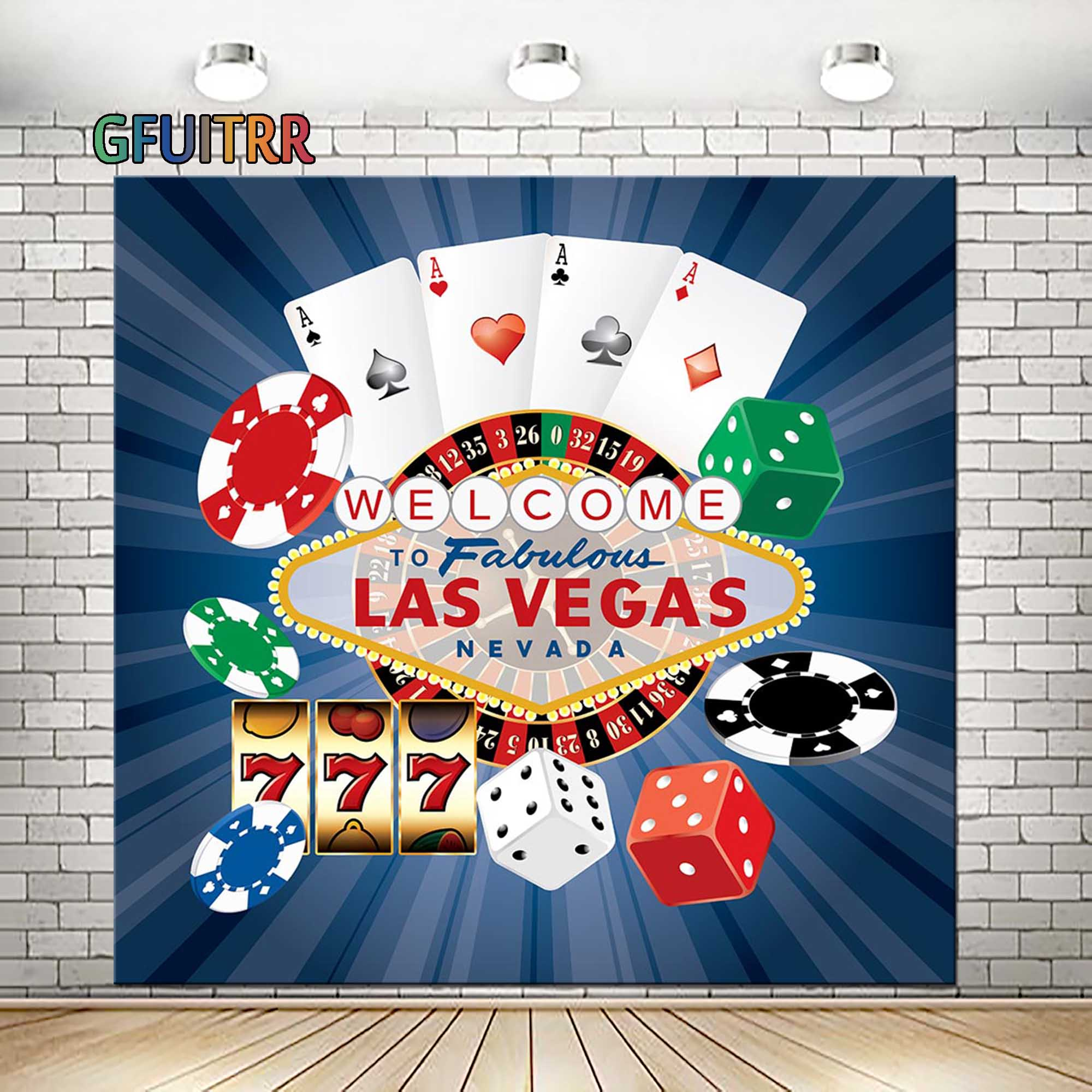 GFUITRR Welcome Las Vegas Photography Backdrop Custom Banner Party Decoration Photo Background Poker Vinyl Photo Booth Props(China)