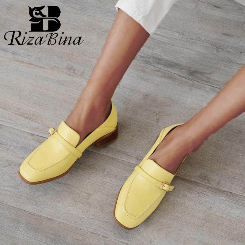 RIZABINA Women Flats Shoes Genuine Leather Soft Brand Casual Shoes For Women Metal Buckle Daily Party Footwear Size 34-40