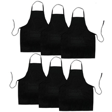 Kitchen Apron Barbecue Black Baking Restaurant 2-Pockets Suitable-For with Anti-Dirty