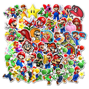 50PCS Anime Super Mario Game Cartoon Stickers DIY Skateboard Luggage Guitar Laptop Phone Decal Graffiti Sticker Kid Classic Toys