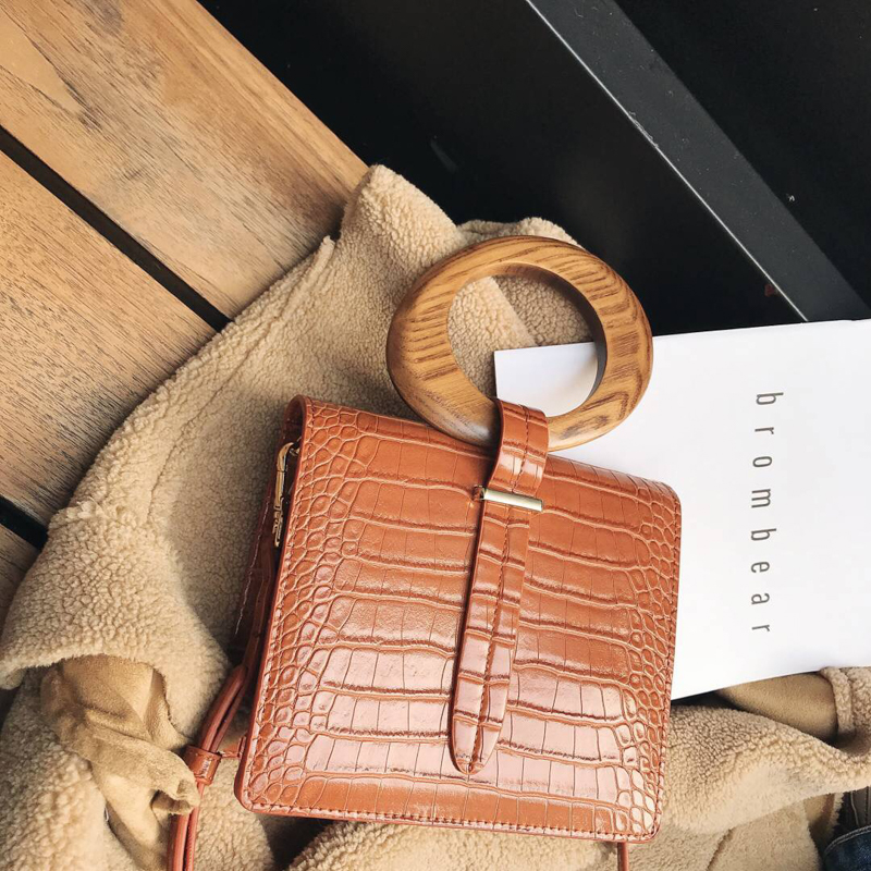 Wooden Ring Handle Women's Handbag Crocodile Pattern PU Leather Vertical Flap Shoulder Bag Fashion Ladies Daily Crossbody Bag