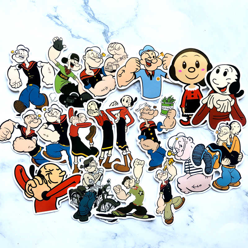 18pcs Creative kawaii Self-made Popeye vinyl laptop skin sticker refrigerator suitcase laptop Car sticker Car Styling