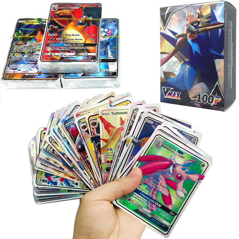 100pcs New Pokemon Cards Tag Team GX EX MEGA Cards Pokemones English Pikachu Cards Toys For Kids Gift High Quality No Repeat