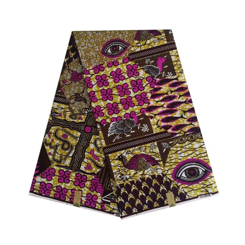 2019 le dernier design africain cire néerlandais bloc impression en tissu désir yeux mélanger conception 100% coton 6 yards/pièce V-L 668