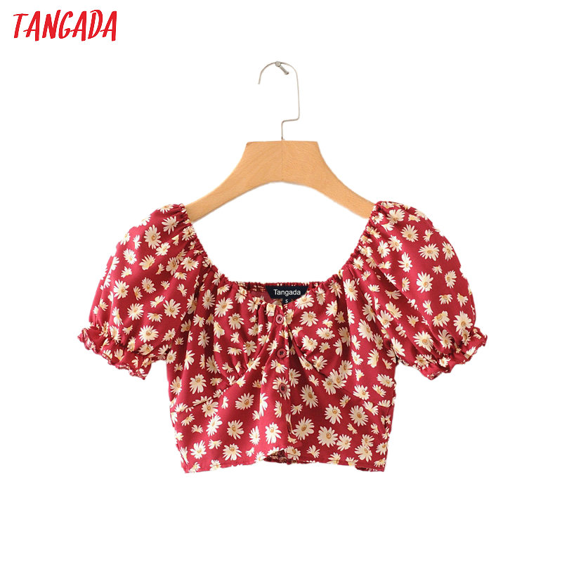 Tangada Women Floral Print Crop Shirt Short Sleeve 2020 Summer New Chic Female Sexy Slim Shirt Tops 2M82
