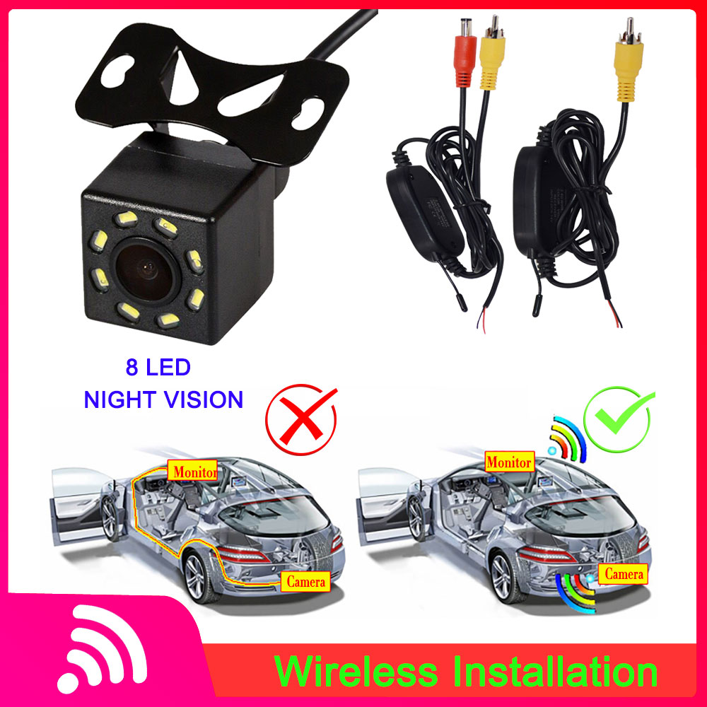 8LED Night Vision Car Rear View Camera Waterproof Wide Angle HD Reverse Parking Camera Wireless Video Transmitter & Receiver Kit