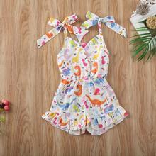 Baby Girls Kids Beach Playsuit Clothes Toddler Ruffle Dinosaur Print Strap Romper Jumpsuit New Arrivals Summer