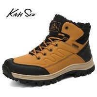 Katesen botas masculinas inverno grosso de pelúcia botas de neve sapatos de inverno quente não-deslizamento sapatos de moda botas de tornozelo masculinas botas hombre