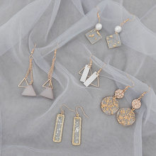 New Korean Simple Beautiful Gold Foil Geometry Dangle Earrings Temperament Fashion Women Girl Jewelry Accessories