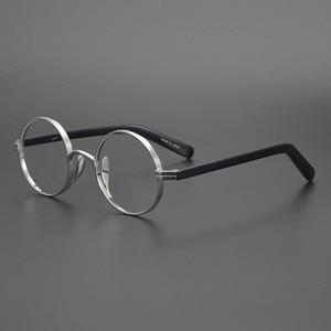 Мужские винтажные очки с круглой оправой John Lennon из титана ручной работы, супер светильник
