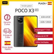POCO X3 NFC-teléfono inteligente , 6GB 64GB 128GB los teléfonos móviles versión Global, Snapdragon 732G, pantalla FHD de 6,67 pulgadas, cámara cuádruple ia de 64MP, batería de 5160mAh, carga rápida de 33W españa