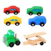 Baby Kids Wooden Simulation Educational Toys Children Double deck Trailer Car Transporter Toy Set