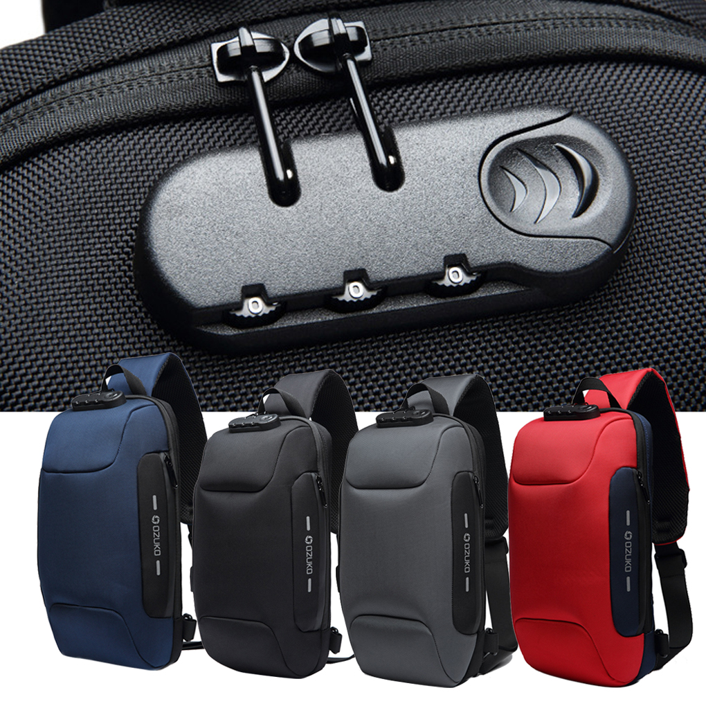 2019 New Men Bags Chest Pack Multi-function Lock USB Anti Theft Waterproof Mobile Multi-pocket Trip Shoulder Backpack