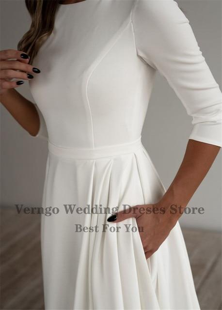 Verngo Simple Wedding Dress Long Sleeves A Line Crepe Boat Neck Elegant Bridal Dresses With Pockets Plus Size robe de mariee 2