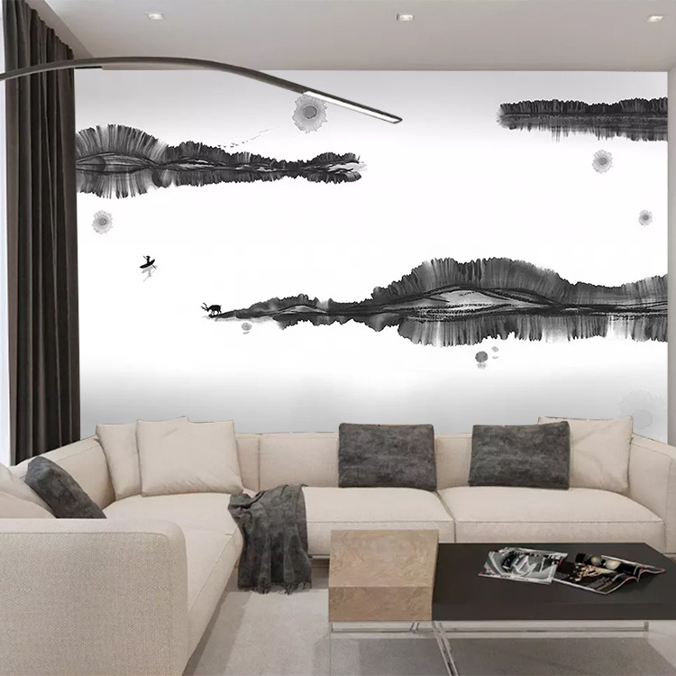Customizable Large 3D New Chinese Style Zen Ink Landscape Elk Chinese Style Living Room Bedroom TV Background Wallpaper Mural